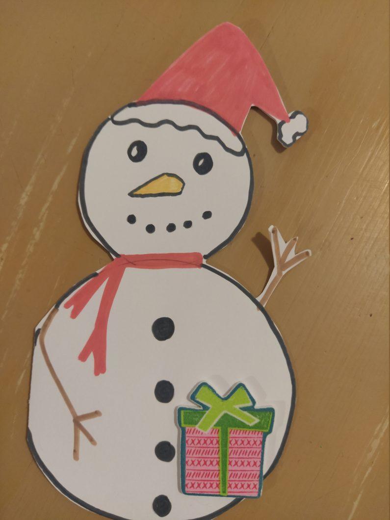diy-cartes-noel-bonhomme de neige a ouvrir