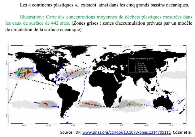 Les zones d'accumulation des plastiques dans les océans